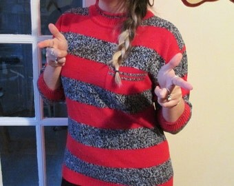 Vintage Women's Red and Static Gray Striped Sweater w/ Breast Pocket- Stripes Sweater Pullover