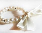 Ivory flower girl bracelet, children bracelet, kids pearl bracelet, wedding jewelry, crystal rondelles, junior bridesmaid gift