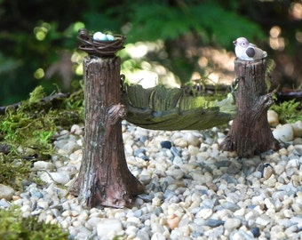 Fairy Garden accessories  Hammock leaf with bird and hand crafted bird nest with miniature robin's eggs woodland accessory