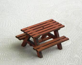 Fairy Garden Picnic Table Handcrafted - with miniature umbrella - fairy furniture - terrarium accessories miniature umbrella