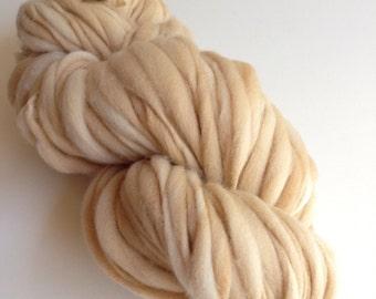 Handspun Thick and Thin Merino Wool Yarn - 50 yards - Fawn