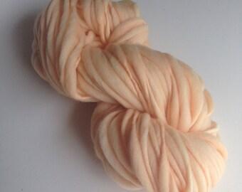 Handspun Thick and Thin Merino Yarn - 50 yds - Pale Peach