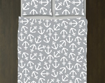Anchor Bedding Set-Duvet Cover-Shams-Grey-White-Custom Colors-Daybed-Twin/Twin XL-Full/Queen-King Size-Nautical Bedroom Decor-Teen Room