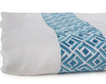 Embroidered Chippendale Duvet Cover White 300 TC Embroidery White Blue Bedding Luxury Soft Premium Bedspread Bedding Sheets Euro King Sham