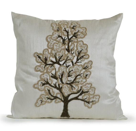 Luxury Decorative Bed Pillows : Items similar to Luxury Decorative Pillow Cover White Silk Tree Bead Cushions, Gray Beige White ...