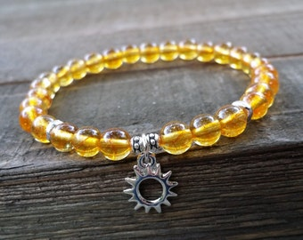 citrine mala stretch chakra bracelet silver sun charm yoga bracelet wrist mala sun bracelet