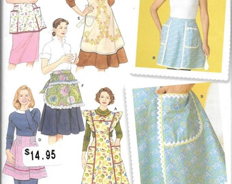 Simplicity 4282, New uncut Apron Sewing Pattern, Aprons Size S-M-L