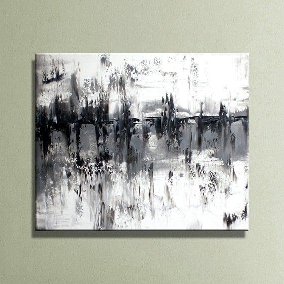 black gray white original abstract acrylic painting on canvas. Black Bedroom Furniture Sets. Home Design Ideas