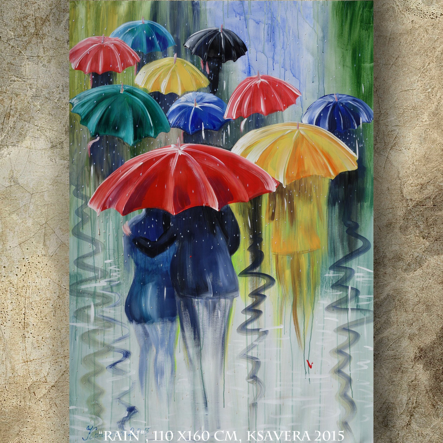 Metal Umbrella Wall Decor : Rain umbrella painting in the city autumn art by
