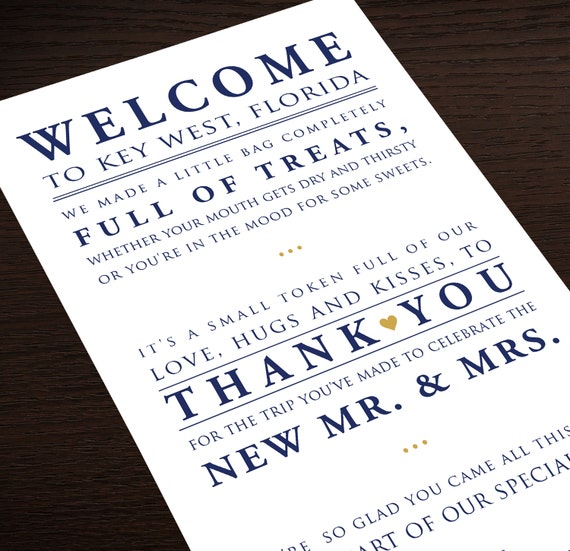 Wedding Gift Bag Notes : Wedding Hotel Welcome Bag Letter Wedding by GrandDesignStudio