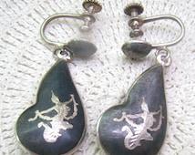 Vintage SIAM STERLING Earrings...Black Niello Siam Dancer Screw Back Earrings...Double Sided...Sterling Dangles