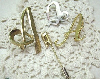 "Vintage Lot Brooches... Initial ""A"" Pins...FOUR  ""A's""...Signed Mamselle Brooch...Stick Pin....Resale Lot"