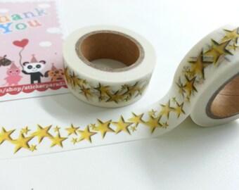 Lovely Yellow Star Washi / Masking Tape - 10M