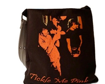 Tickle Me Pink Bag • Upcycled T-shirt Purse • Band Bag • Crossbody Bag • Tickle Me Pink Tshirt Bag