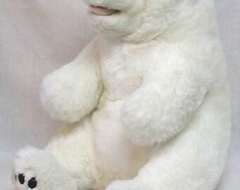 Vintage Stuffed Plush White Polar Bear Toy Labeled Sea World Very Clean