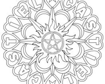 Supernatural Castiel Mandala Adult Colouring