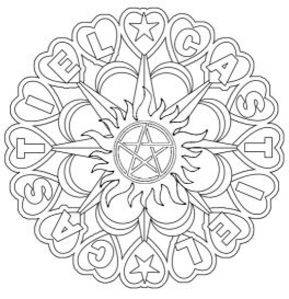 Supernatural castiel mandala adult colouring for Supernatural coloring pages