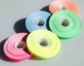"5 Roll Pack UV Neon Gaffers Tape 1/4"" 15 ft Rolls ALL Colors"