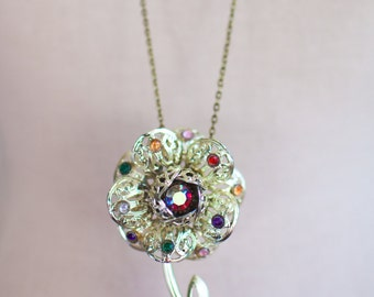 RHINESTONES Pendant NECKLACE Vintage brooch PENDANT Rhinstone necklace