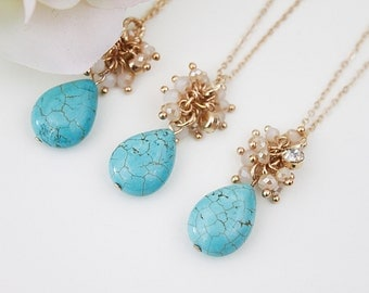 Set of 3 Turquoise Stone with Pale Pink Tiny Beads Cluster Necklace. Bridesmaid Necklace, Bridesmid gift .