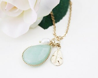 Vintage Mint Stone with Gold Leaf and Tiny Pearl Long Necklace.
