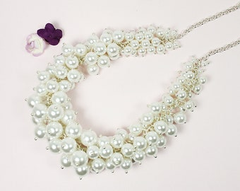 White Pearl Beads Cluster Necklace with Silver Chain / Wedding Jewelry , Bridesmaid Necklace . Bridesmaid Gift.