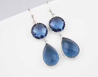 Navy Blue Teardrop Earrings  Bridal Earrings  Bridesmaid Earrings  Bridesmaid Gift Wedding Jewelry