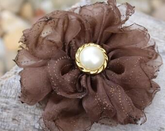 Brown Organza Flower Brooch