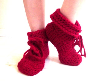 Bootie Slippers  Crochet Slippers Bootie Slipper Sock Easy on Boots  Handmade Thick Slippers House Shoes Indoor Shoes