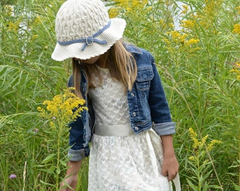 """Crochet Pattern: """"Summer Waves"""" Sunhat, Sizes Baby, Toddler, Child, Teen Adult Small, Adult Medium Large"""