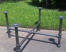 """Industrial Pipe Leg Set for Coffee Table """"X"""" - Base Only"""
