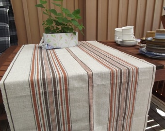 Swedish Vintage Rustic Handwoven Linen Table Runner with Stripes. Vintage 1950s.
