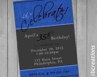 Adult Birthday Invitations, Birthday Printables, Birthday Party, 50th Birthday, 21st Birthday, 75th Birthday, Digital Printables