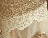 Beautiful Alencon Lace Fabric in Ivory , Cord Floral Fabric Bridal Gown Lace Fabric for Wedding Gown Bridal Shrug