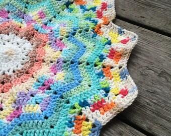colorful star crochet baby blanket, security blanket, baby blanket boy, baby blanket girl, lapghan, car seat blanket