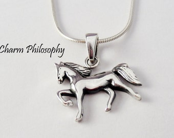 Galloping Horse Necklace - 925 Sterling Silver Jewelry - Horse Pendant - Horse Jewelry