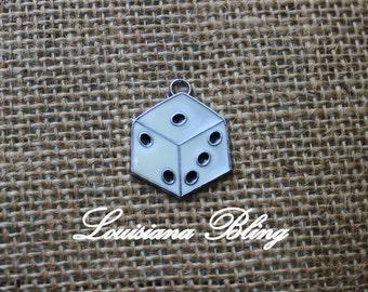 6 Piece Dice Charms Bunco Dice Yahtzee Craps Dice White enamel silver Dice 28x23mm  27-2-E