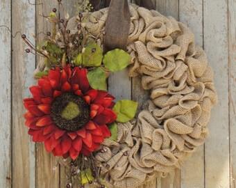 Fall Sunflower Wreath--Burlap Sunflower Wreath--Grapevine Sunflower Wreath--Rattan Sunflower Wreath-Autumn Sunflower Wreath-Sunflower Wreath