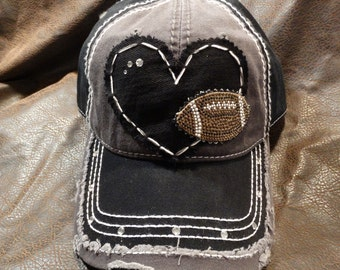 I heart football rhinestone distressed hat