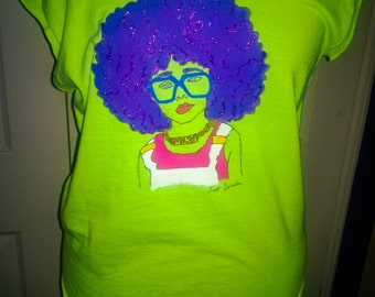 Hand Painted off the shoulder Young Afro Girl with Glasses T-Shirt