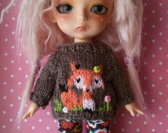 Fox sweater for Lati Yellow/ Pukifee doll. Handmade jumper for bjd