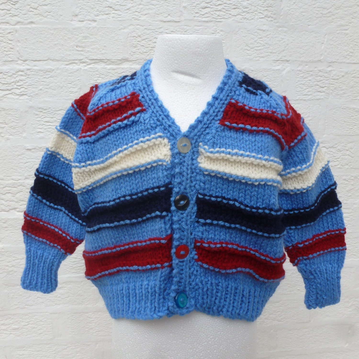 Blue cardigan boys handmade top vintage clothing kids sweater