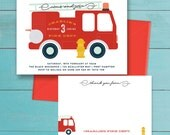 Fire Truck Birthday Party Invitation and thank you note - printable - fire engine / fireman theme - personalized