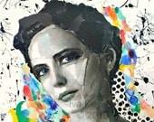Original painting - Canvas art - Large painting - Collage on canvas - Contemporary painting - Collage art - Wall art - Portrait art.