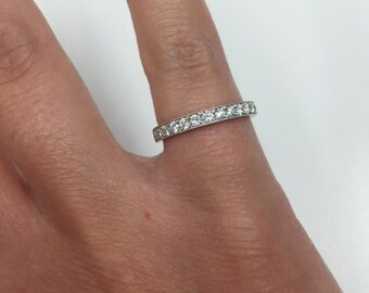 Platinum (950) Antique Pave Diamond Wedding Band, size 4.25