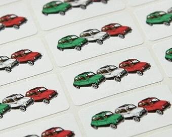 Trio of vintage Fiat 500 in Italian colours sticker sheet