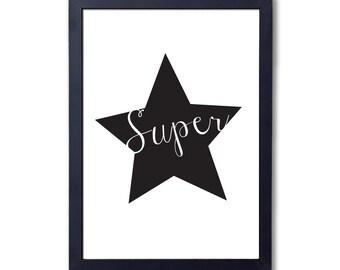 "Superstar (black), A4 8x10"" A3 or 11x14"", printed"