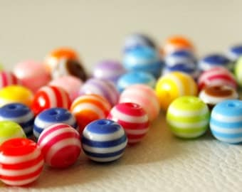 8mm Mixed Striped Round Resin Spacer Beads x 20