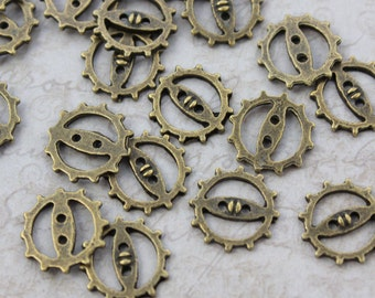 20 Gear Charms Gear Wheel Charms Antiqued Bronze Tone  12 mm