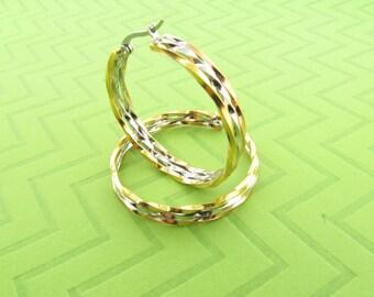 large tri-color stainless steel hoop earings. 1 3/4 inch round